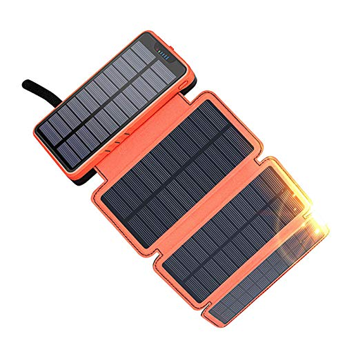 AEU Solar Charger 20000Mah Portable Solar Power Bank with 4 Panels Solar Battery Pack for iPhone/Ipad/Samsung, Waterproof, Dustproof, Anti-Drop Function, 4 Modes Light Camping Lamp