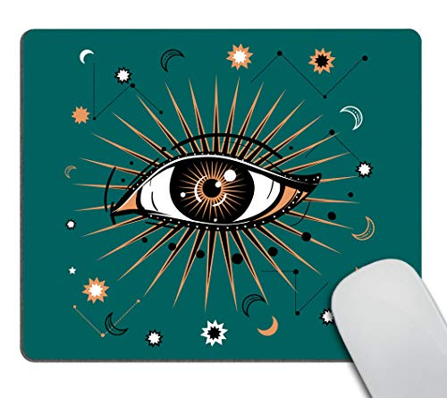 Smooffly Celestial Mousepad, All-Seeing Eye Symbol Mousepads, Retro and Boho Style Non-Slip Rubber Customized Computer Mouse Pad