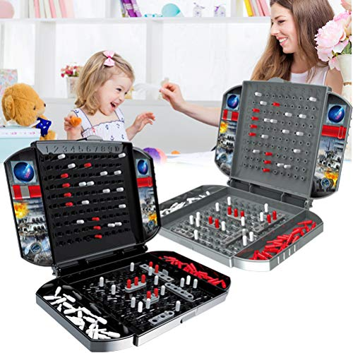 Naval Battle Game, Battleship Board Game for 2 Players Naval Battle Game Classic Toy Strategy Battle Ships Board Games for Kids Adults, Portable Childrens Double Battle Toy Strategy Battleship Game