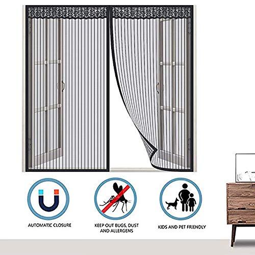 HTDG Raamhor, met magneet, binnen, insectenbescherming, klittenband, vliegengaas, weefsel van glasvezel, zwart, aluminium, groot raam, zonder boren