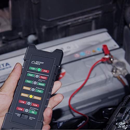 OBDMONSTER Car 12V 24V Battery and Alternator Tester Automotive, Load Tester, Battery Checker, Analyzer to Check alternator & Battery Charging System with LED Indicator