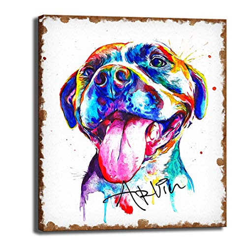 CNUSER Pit Bull Dog Canvas Prints Wall Art of Famous Floral Oil Paintings Reproduction Abstract HD Classical Flowers Pictures Artwork for Living Room Kid's Room (Bull Dog 12x14inch)