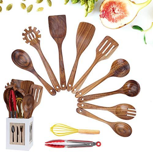 JUJOYBD 11-TLG - Utensili da cucina in legno di teak con scatola portaoggetti, utensili da cucina, cucchiai in legno per cucinare, utensili da cucina antiaderenti o pentole, resistenti al calore