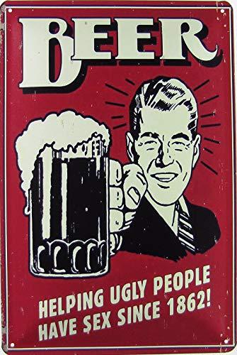 Blechschild 20x30cm gewölbt Bier Beer Helping Ugly People Have Sex Since 1862 Bar Deko Geschenk Schild