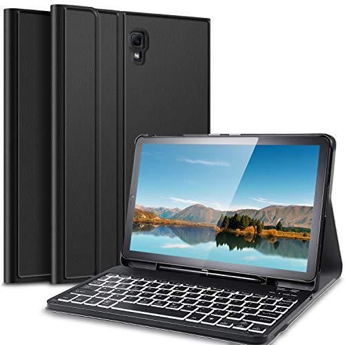 IVSO Hintergrundbeleuchtete Tastatur Hülle für Samsung Galaxy Tab S4 T830/T835,[QWERTZ Deutsches], PU Fronthalterung Hülle mit Abnehmbar Tastatur für Samsung Galaxy Tab S4 T830/T835 10.5 2018, Oil