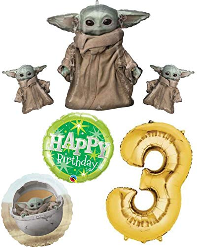 This Sweet Earth Mandalorian The Child Baby Yoda Happy Birthday 3 Year Old 3rd Birthday Balloon Party Decoration Bundle