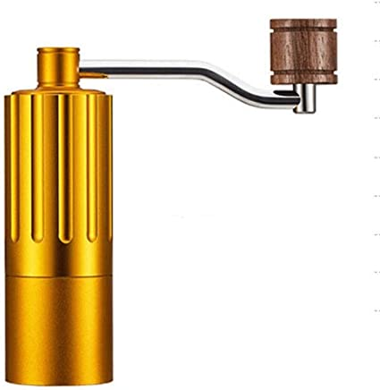 JTGYA Manual Coffee Grinder, Whole Bean Conical Burr Mill Packaging May Vary, Brushed Stainless Steel (Color : Gold)