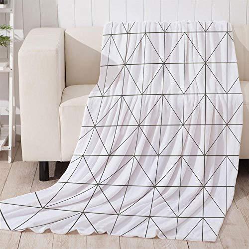 Bedsure Mantas para Sofás de Franela Cuadros Blancos de Lujo de Grande Tamaño Manta Manta de Lana para sofá y Cama de 200x220cm