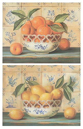 Cuadro de Cocina de Madera Limones Naranjas/Placas de Madera. Set de 2 Cuadros de 19 cm x 25 cm x 4 mm unid. Adhesivo FÁCIL COLGADO. Adorno Decorativo. Decoración Pared hogar Cocina