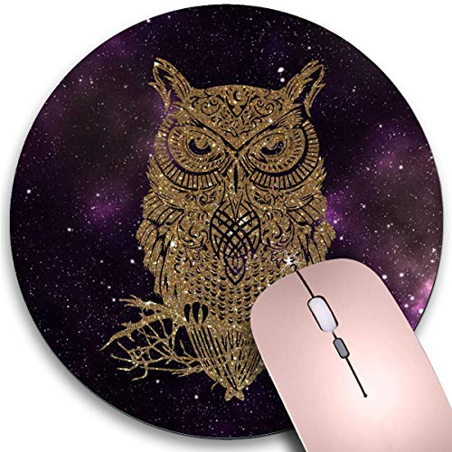 Round Mouse Pad,Starry Owl Non-Slip Rubber Circular Mouse Pads Customized Designed for Home and Office,7.9 x 7.9inch
