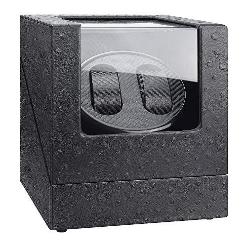 Kaufam Caja Giratoria para Relojes Watch Winder Patrón de Avestruz Piel con Felpa Plastico Caja Automatica Relojes Silencioso Giratorias para 2 Relojes Señora y Hombre con Pilas y Adaptador de CA