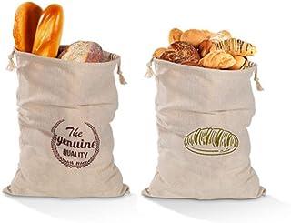 Leinenbrotbeutel 2-teiliges Set, wiederverwendbarer Bio-Leinenbrotbeutel aus 100% natürlichem Leinen mit Kordelzug, Größe 30 x 40 cm, hält den Brotbeutel frisch