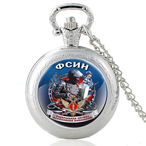 Fuerzas Especiales RusasVintage Reloj de Bolsillo de Cuarzo Hombres Mujeres Colgante Collar Cadena Horas Reloj Regalos Plata