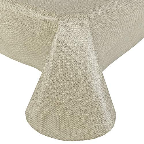 Newbridge Basketweave Solid Color Vinyl Flannel Backed Tablecloth, Basket Weave Textured Look Indoor/Outdoor Waterproof Tablecloth, Patio Kitchen Dining, 60 Inch x 102 Inch Oblong/Rectangle, Natural