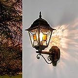 Antiguo XXL Lámpara de pared para exterior H:42cm oro Cristal antiguo Estilo Tiffany E27 Lámpara de ...