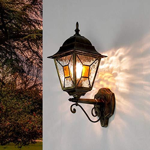 Antiguo XXL Lámpara de pared para exterior H:42cm oro Cristal antiguo Estilo Tiffany E27...