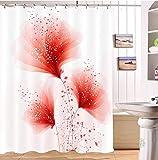 LB Blume Pflanze rot Duschvorhang für Badezimmer Wohnaccessoire 180 * 180 cm