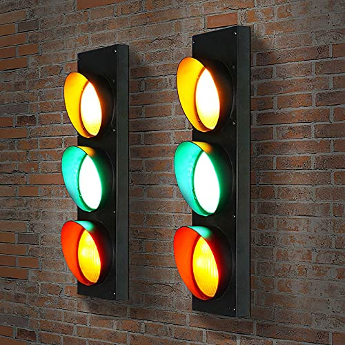 QDF 2 pcs Wall Decor LED Traffic Light with Remote Control, Retro Industrial Wall Lamp Indicator Light, for Cafe Bar Club Shop Warning Decoration