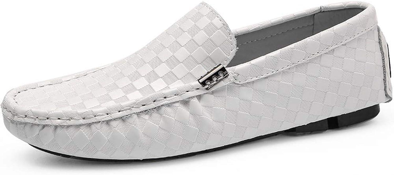 Leather Men's shoes Casual shoes Single shoes Men's Peas shoes (color   White, Size   44)