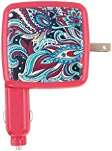 HALO Portable Phone Charger Power Cube 3000mAh - High Speed USB Port Battery Charger and Car Adapter, Pink Paisley