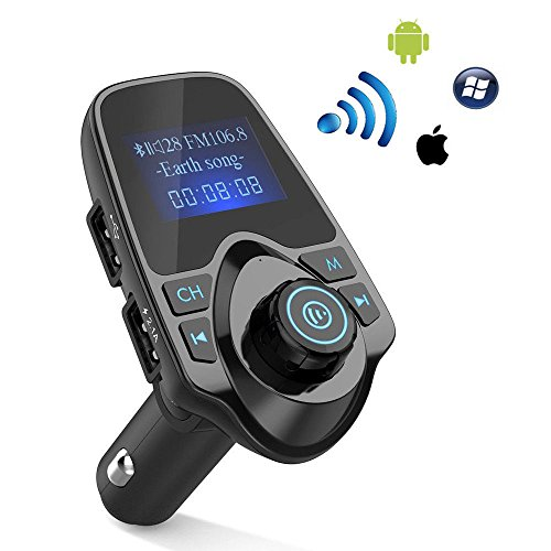 ieGeek Bluetooth FM Transmitter für Auto, Wireless-Hände Frei in-Car Radio Empfänger-Adapter, mit 1.44-Zoll-Display, 2 USB-Ports, AUX-Eingang/Ausgang, TF-Karte, Unterstützung Micro SD-Karte.