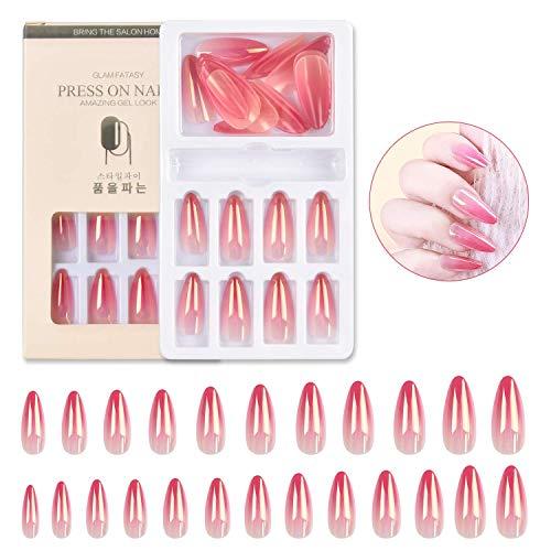 24 Pcs Press on Nails, Fake Nails Glossy Gradient Colorful Short Stiletto Professional Acrylic Nail Tips Set, False Nails Medium Long with Adhesive Tabs Nail File (Pink)
