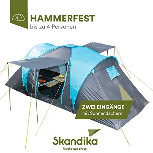skandika Hammerfest 4 Protect Kuppelzelt mit eingenähtem Zeltboden für 4 Personen, 2 Schlafkabinen, Moskitonetze, Organisationstaschen, Lampenhaken, 2.000 mm Wassersäule