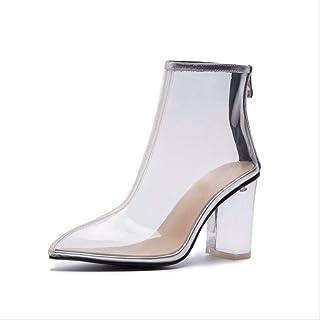 SHZSMHD Spring New Transparent Boots Clear Tacones Gruesos Tacón Cuadrado Botas de Mujer Lady Party Botas de Verano Botas ...