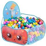 vamei Piscina de Bolas para bebés niños Carpas de Juego Play House Jirafa Pop Up corralito Interior con aro de Baloncesto Niño pequeño Casa de Juego al Aire Libre (Azul)(Bolas no Incluidas)