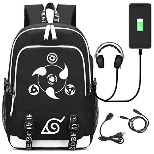 YOYOSHome Luminoso Anime Naruto Cosplay Bookbag Daypack Mochila Escuela con Puerto USB