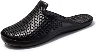 Bin Zhang Water Clogs Shoes for Men Unisex Perforated Slippers Outdoor Beach Shower Slip On Light-Weight Round Head Anti-Slip (Color : Black, Size : 5.5 UK)