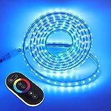XUNATA - Strisce LED da 220 V RGB, con telecomando integrato, 5050 LEDs/m, dimmerabili, im...