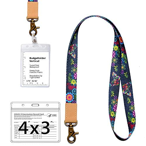 Butterfly Lanyard with ID Holder, Neck Strap Unique Premium Printed Keychain Lanyard for Key, Card Holders and ID Badges Event Passes Name Badges