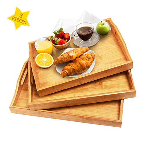 Serving Tray with Handles - Wood Bamboo Trays for Food Breakfast Dinner Party,Tea Coffee Table Tray,Ottoman Decor Set of 3