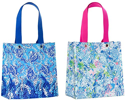 Lilly Pulitzer Market Shopper Bag Set of 2, Reusable Grocery Totes with Comfortable Shoulder Straps, Turtley Awesome & Lion Around