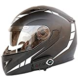 STZYY Motorcycle Flip-up Bluetooth Helmet Dot/ECE Certification Motorbike Integrated Helmet Full Face Motocross Crash Helmet with Double Sun Visor Racing Helmet for Adult Men Women