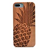 iPhone 8 Plus Case/iPhone 7 Plus Case, Natural Real Wood Carving Pineapple Pattern Covered TPU Rubber Shockproof Flexible Case For Apple iphone 7 Plus,iphone 8 Plus