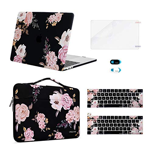 MOSISO Compatible with MacBook Pro 13 inch Case 2016-2020 Release A2338 M1 A2289 A2251 A2159 A1989 A1706 A1708, Plastic Peony Hard Shell&Sleeve Bag&Keyboard Skin&Webcam Cover&Screen Protector, Black