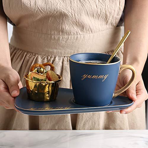 Kaxceay Taza de cerámica de Oro de Oro, Taza de café nórdica, Conjunto de bandejas de Taza de café de mármol, vajilla de té de la Tarde, Taza Azul y Juego de platillos Cup