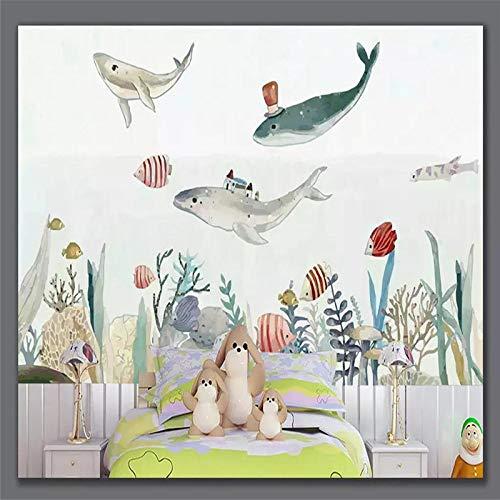 DZBHSCL 4D behang wandschilderingen, Nordic Cartoon schattige onderwaterwereld dieren kunstdruk grootte fotobehang voor kinderkamer kinderkamer achtergrond wandsieraden, 76 × 108 in 190 cm (H) x 270 cm (W) 112in×184in 280cm(H)×460cm(W)