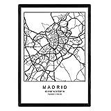 Drucken Stadtplan Madrid nordischen Stil schwarz und weiß.