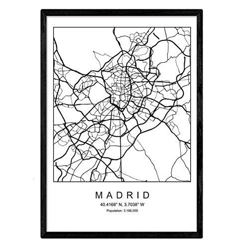 Stadskaart afdrukken Madrid Noordse stijl zwart en wit. Posterframe op A3-formaat Het bedrukte papier Geen 250 gr. Schilderijen, prints en posters voor woonkamer en slaapkamer