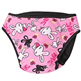 mi ji Lavable Hembra Perro Pantalones Sanitarios Braguitas higiénicas para Perros Animales Fisiologico pañales Rosa XL