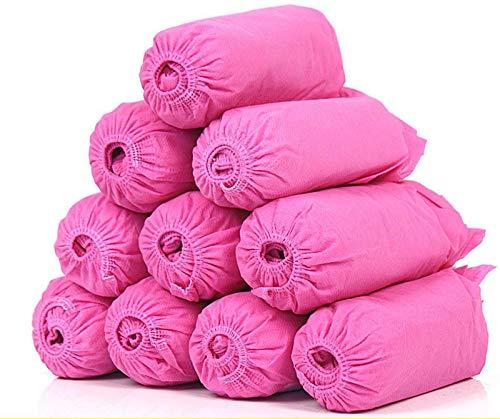 QWEIAS 100PCS Fundas para pies Cubrezapatos Desechables - Cubrezapatos de plástico Impermeables a Prueba de Polvo Cubrebotas - Fundas Protectoras de Zapatos duraderas Antideslizantes Pink