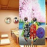 LIGICKY Noren - Cortina Larga Estilo japonés para Puerta de Kioto Geisha Niñas en Kimonos y Flor de Cerezo para decoración del hogar, 85 x 150 cm