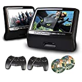 XTRONS 9' HD Active Car Pillow Headrest Monitor Portable DVD/USB Player Game HDMI (HD9PCHBlackx2)