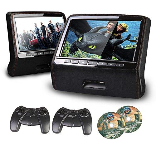 XTRONS 9  HD Active Car Pillow Headrest Monitor Portable DVD USB Player Game HDMI (HD9PCHBlackx2)