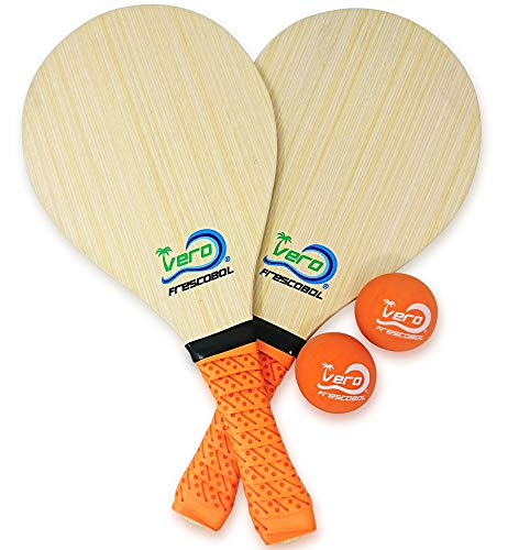 Frescobol Starter Set, 2 Vero Wood Paddles, Premium Orange Padded Grips, 2 Official Orange Balls, Beach Tote-Bag