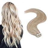 YoungSee 12 Pouces Extension Cheveux Adhesive Humain Naturel Pas Cher Blond Cendré avec Bleach Blond Skin Weft Extension a Bande Tape Cheveux Naturels 20pcs/30g