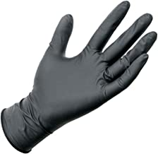 Fan-Ling 10Pcs Disposable Latex Tattoo Gloves,Comfortable Rubber Disposable Mechanic Nitrile Gloves, Black (M)